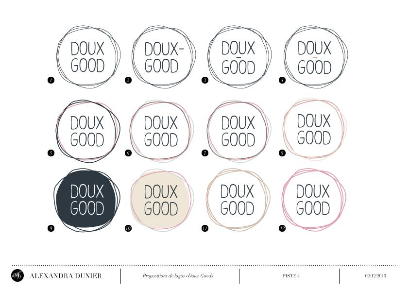 Etudes de plusieurs déclinaisons - création de logo Doux Good