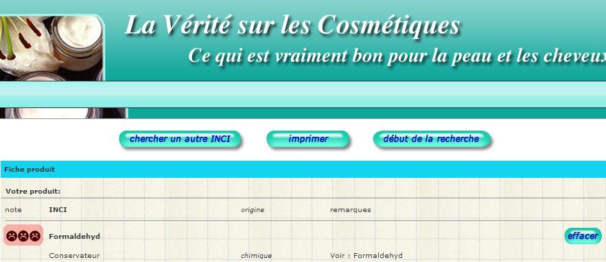Vérité sur les cosmétiques - analyse ingrédients INCI