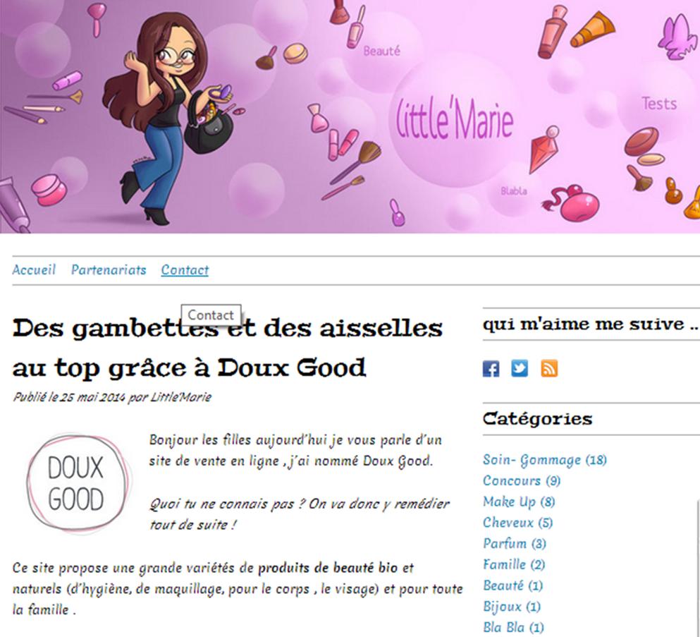 Extrait article Little'Marie, et présentation de l'e-boutique de cosmétiques bio Doux Good