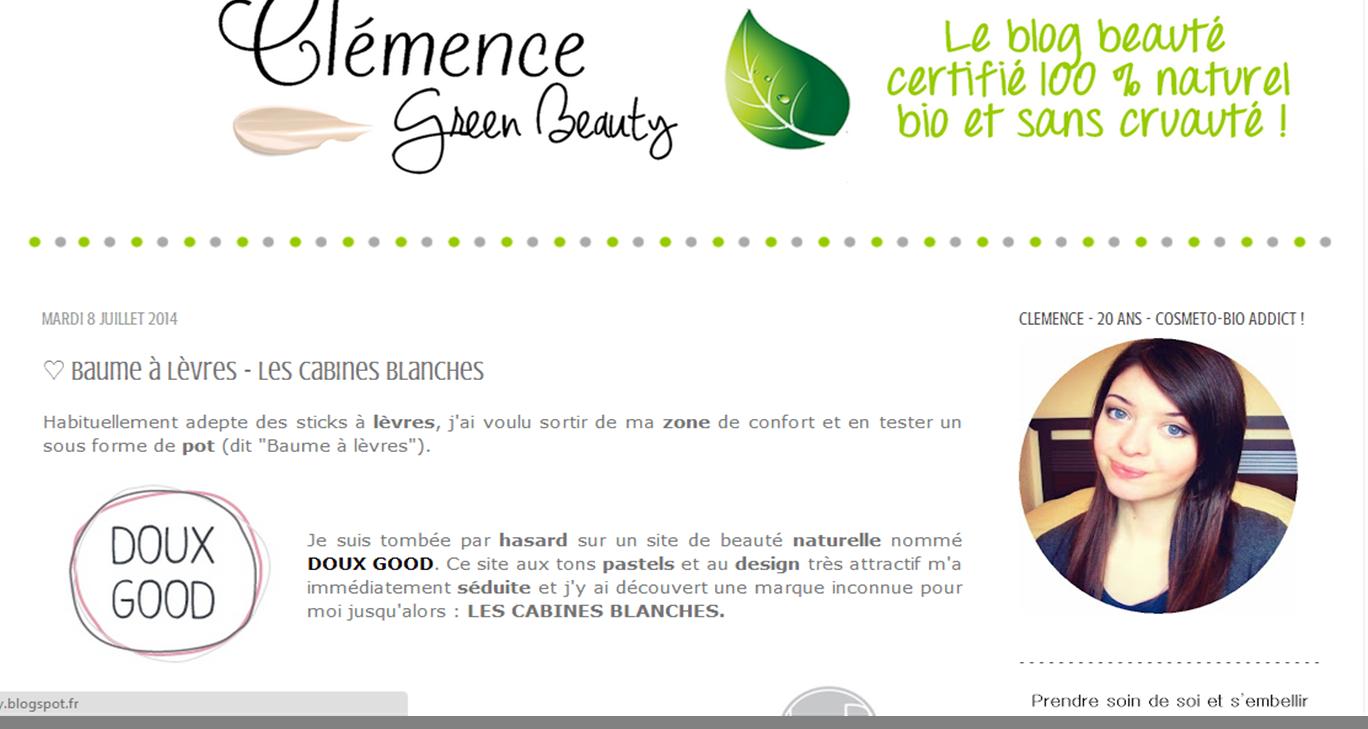 Clémence - Green Beauty article sur le site de vente en ligne Doux Good et une beauté au naturel