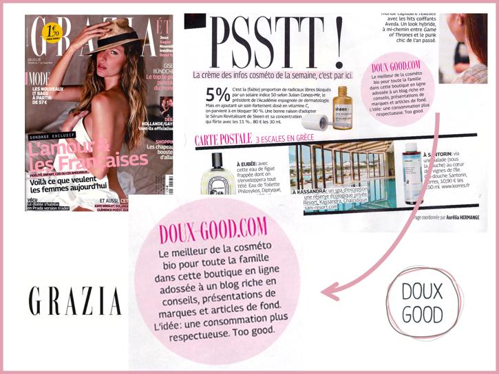 Grazia - Doux Good une boutique en ligne adossé à un blog beauté