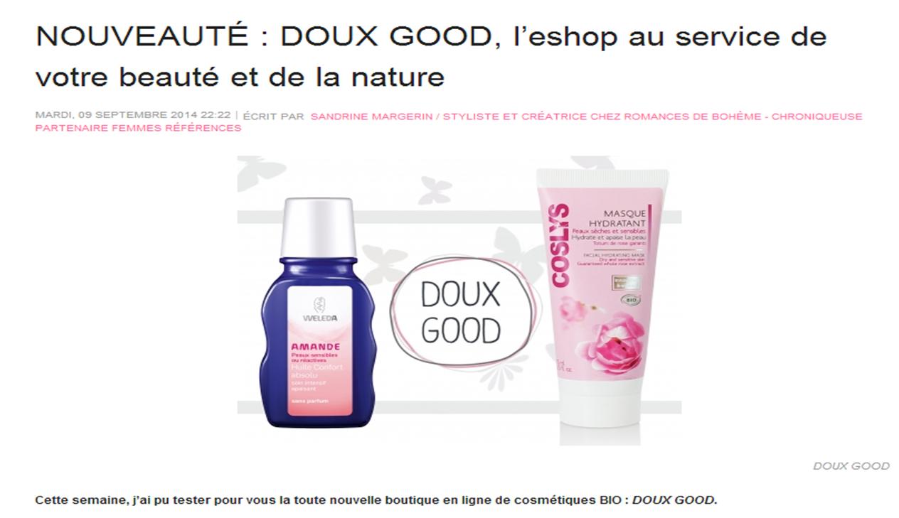 Site Femmes References présente Doux Good, la référence de la cosmétique française.