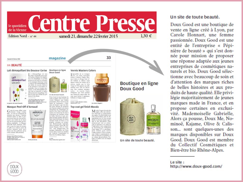 Doux Good, boutique en ligne de cosmétiques bio,  dans Centre Presse - 21 et 22 février 2015