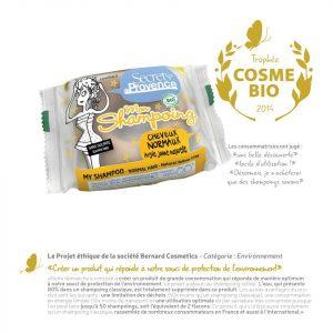 Prix Cosmébio pour le shampoing solide bio de Secrets de Provence