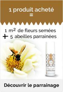 1 produit acheté - 5 abeilles parrainées - 1 m2 de fleur à butiner