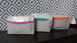 Les Mouettes Vertes-3 trousses en coton bio Collection art-deco pour un cadeau-ethique