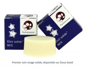Premier soin visage solide- Elixir Nyx de Pachamamaï - Disponible sur Doux Good