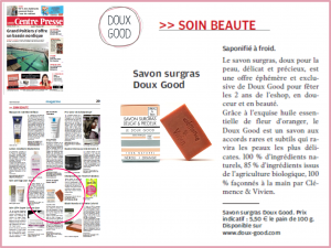 Centre Presse présente la savon Doux Good surgras et bio