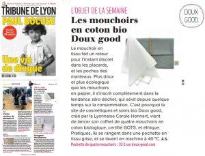 Les mouchoirs en coton bio Doux Good dans la Tribune de Lyon - Janvier 2018