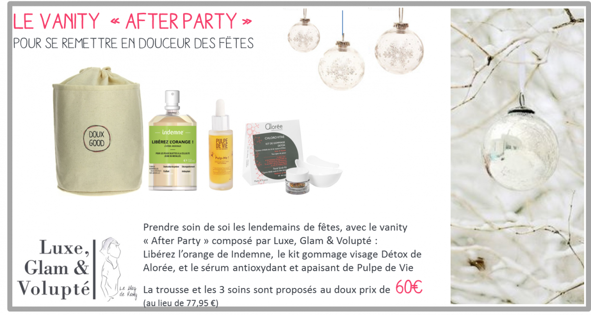 Le vanity Doux Good After Party est une sélection de soins bio visage et corps détox et antioxydant